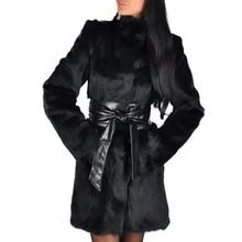 Faux abrigos de piel de zorro moda de invierno media larga chaqueta gruesa cálida de lujo para mujer prendas de vestir negras de Invierno para mujer abrigo de piel falsa D25