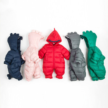 Russian Winter Children's Clothing Down Dinosaur Jacket Boys Outerwear Coats Thicken Waterproof Snowsuits Girls Clothing