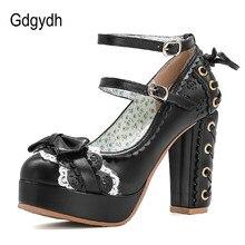 Gdgydh – escarpins à talons hauts et plateforme pour femmes, chaussures de princesse noires, Punk, gothiques, grande taille 43, automne