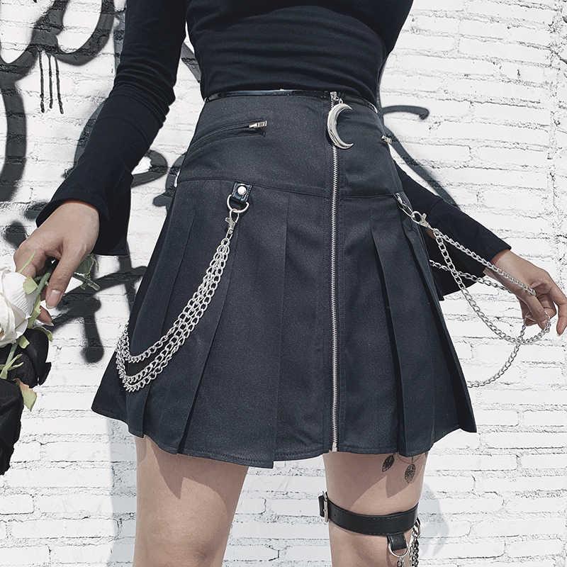 InsGoth Black Mini Skirts Women Gothic Moon Zipper High Waist Skirt Streetwear Harajuku Grunge Female Short Skirts Fashion