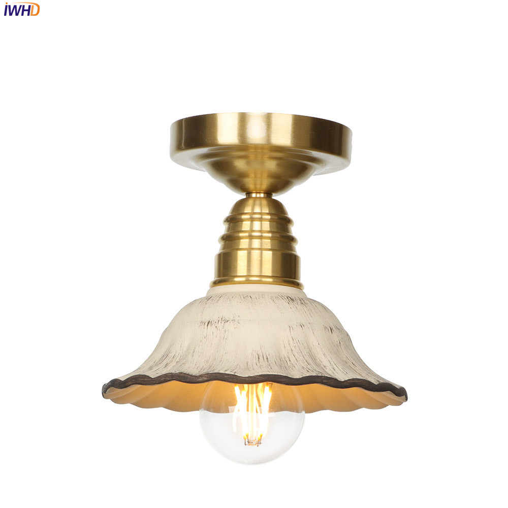IWHD Copper Japan Style Ceiling Light Modern Glass LED Lamp Switch Creative Bedroom RH Fixtures For Home Lighting