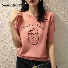 2021 Summer Women's Short-Sleeved Series, T-Shirt, Round Neck Pullover, Worsted Sweater, College Style, Thin Loose,Embroidered