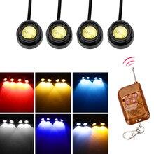 4 in 1 LED Car Eagle Eye Light telecomando senza fili auto luce di marcia diurna avviso di emergenza luce stroboscopica 12V