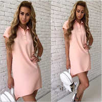 2019 New Fashion Style Trumpet Mermaid Dress Women A-line Turn-down Collar Button Short Sleeve With Pockets Party Dresses vestid
