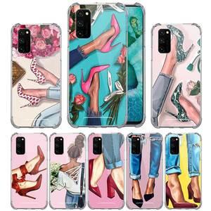 High Heeled Shoes Girl Women Case For Huawei Honor 9S 9C 20i 9A Y8s Y7 2019 Y8p Airbag Anti Capa High Quality Cas Phone Cover