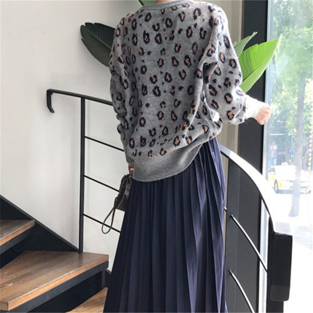Ailegogo New 2020 Autumn Winter Women's Sweaters Pullovers Leopard Korean Style Knitted Stylish Female Jumpers SW9539 4