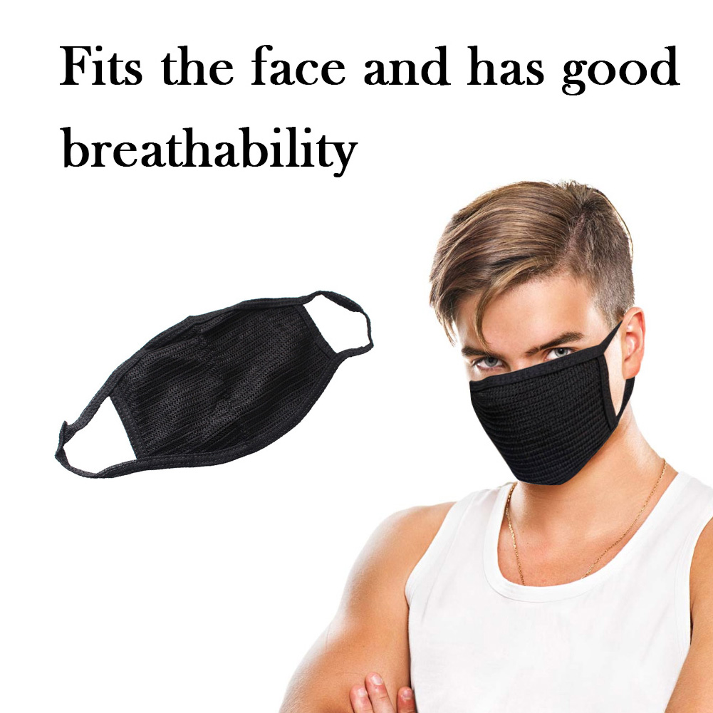 Anti-dust Breathable Earloop Mouth Face Mask Protection Care Black Mask Cotton Mask Or 10 Pcs Filter Unisex Black Masks