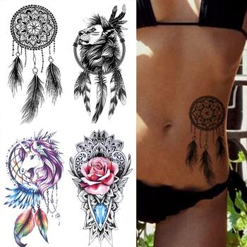 Wodoodporna tymczasowa naklejka tatuaż łapacz snów Flash tatuaże lew kwiaty tatuaże do ciała ramię fałszywy rękaw tatuaż kobiet tanie i dobre opinie MANZILIN 21X11 5cm XQB151 Zmywalny tatuaż