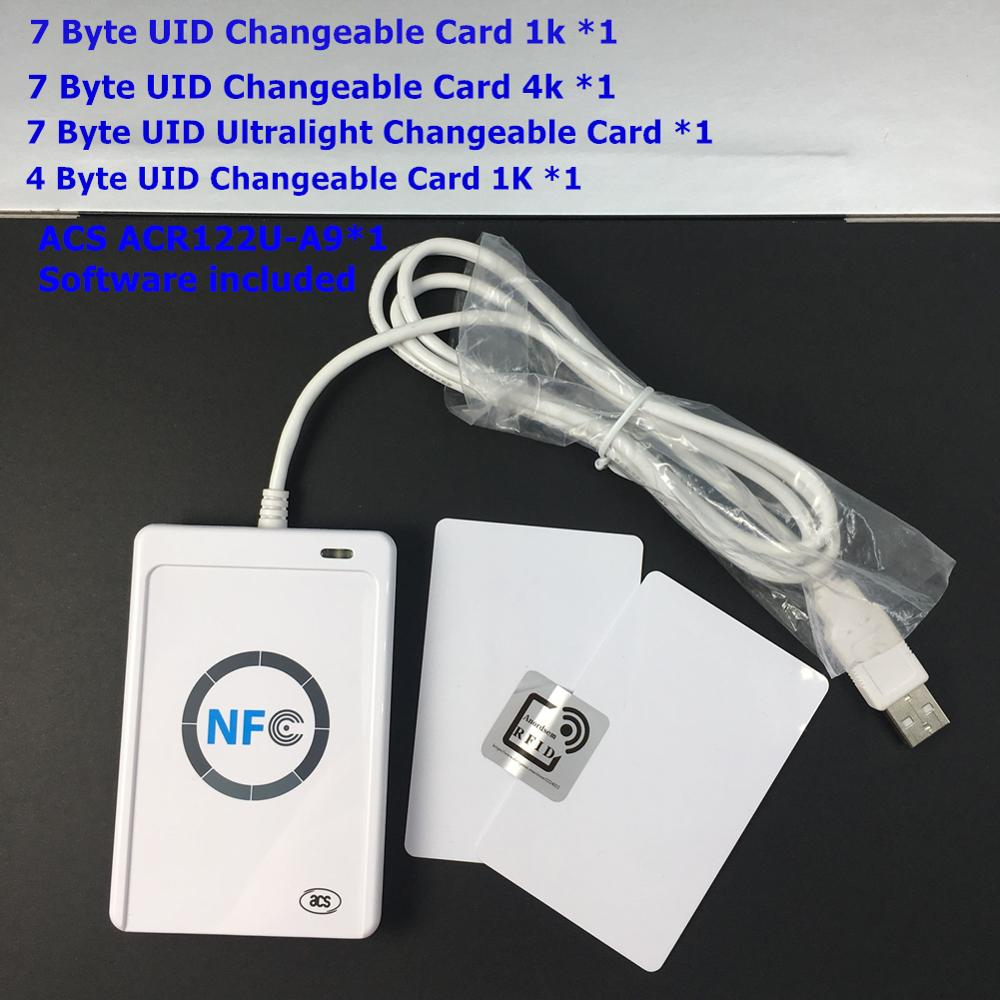 ACR122U Nfc 13.56Mhz Rfid Reader Writer Read Write 7 Byte UID Chanegable Zero Sector 0 Block Writable Card+GUI ,PCSC MF Software