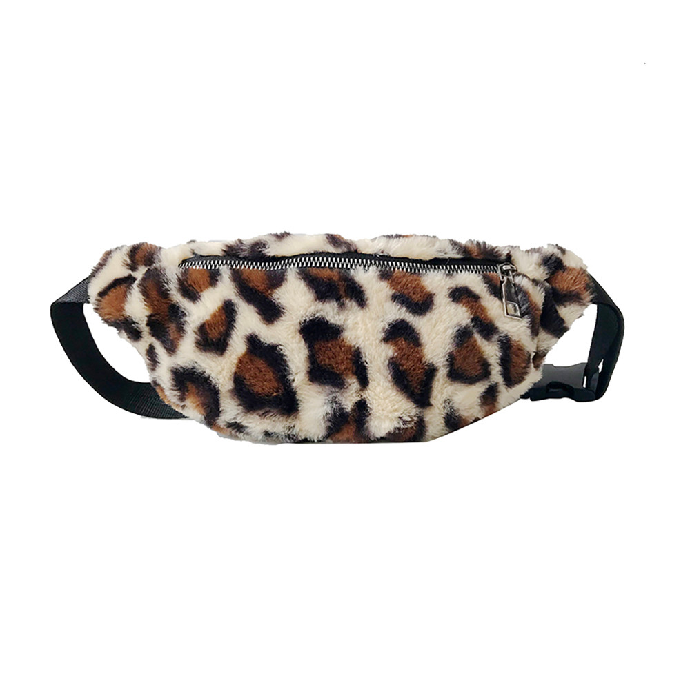 Woman Wide Shoulder Strap Chest Bag Crossbody Bag Leopard Print Pockets For Teens Girls Fluffy Shaggy Leopard Print Fanny Pack