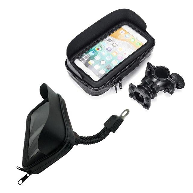방수 자전거 오토바이 휴대 전화 가방 홀더 사이클링 rearview 핸들 바 케이스 전화 지원 GPS 마운트 아이폰 8P XS
