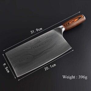 Image 3 - Nóż kuchenny ze stali nierdzewnej Chopper   7CR17 tasak do mięsa noże szefa kuchni rysunek damasceński