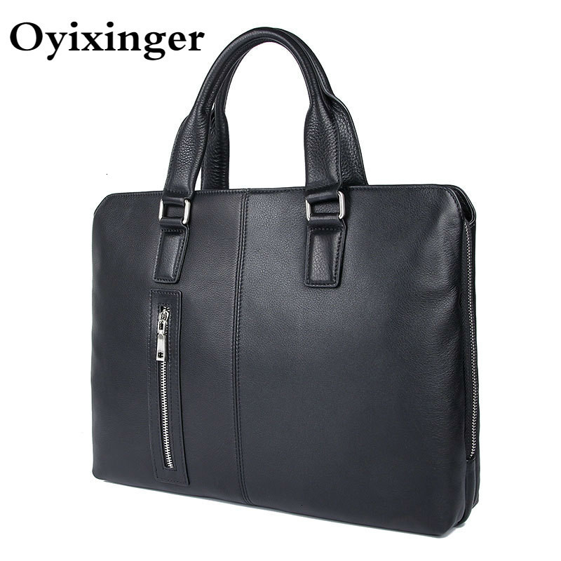 Men Genuine Leather Handbags Computer Crossbody Bags For Macbook Air 14 Men's Business Laptop Bag For <font><b>Dell</b></font> Inspiron 14 5480 <font><b>5584</b></font> image