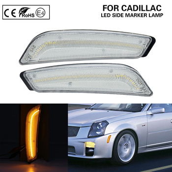 Clear Front Bumper LED Side Marker Lights turn signal lamp for Cadillac CTS CTS V 2003-2007 image