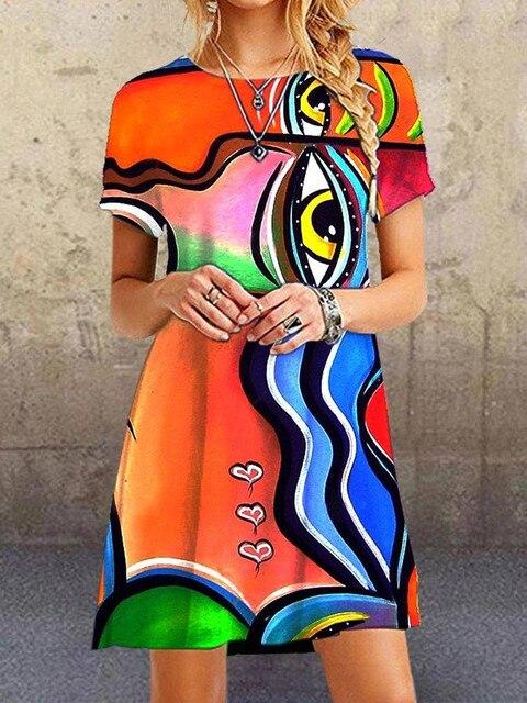 Blue A-Line Short sleeve print dresses Vintage portrait print V neck long dress Causal Mulitcolor patchwork loose dress 4