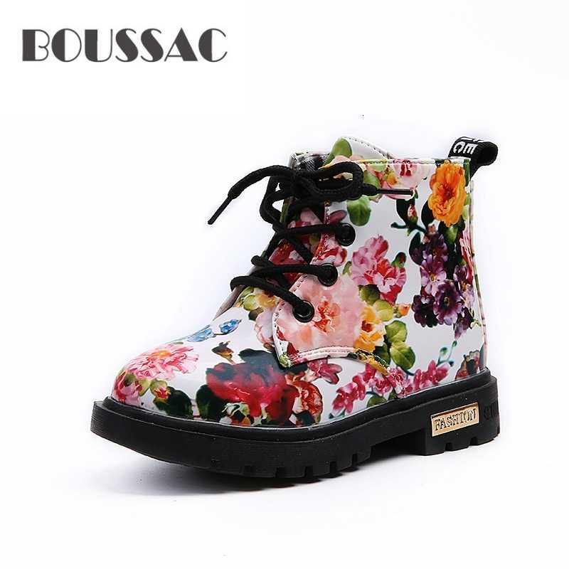 BOUSSAC ชายหญิงรองเท้าผ้าใบ Elegant ดอกไม้ดอกไม้พิมพ์รองเท้าเด็กรองเท้าผ้าใบรองเท้าเด็กวัยหัดเดินรองเท้ามาร์ตินรองเท้าหนังเด็กรองเท้าผ้าใบ