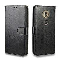 Funda de lujo para Moto E4, E5, G5, G6, G5S, Play Plus, billetera de cuero con tapa, ranura para tarjeta, de silicona