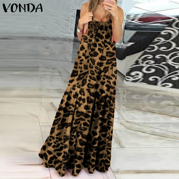Long Maxi Dress VONDA Women Sexy Sleeveless Vintage Leopard Printed Long Dresses Plus Size Elegant Party Vestidos Femme 5XL Robe vonda summer dress 2020 women sexy ruffled neck sleeveless tank mini dresses plus size bohemian party robe femme vestidos