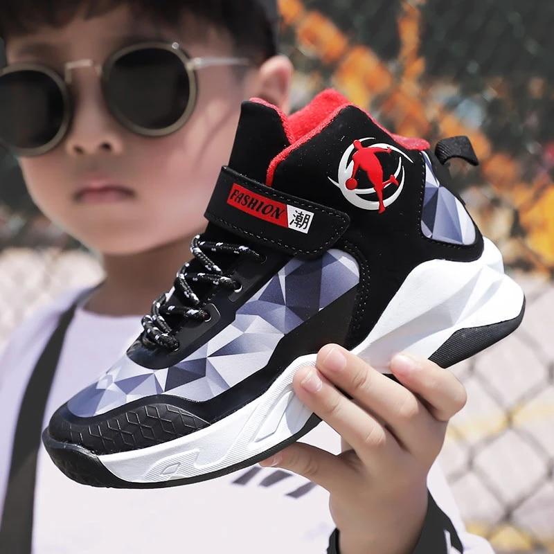Boys Basketball Sneakers Jordan Children Waterproof Leather Shoes Kids Prevent Slippery Wear-resisting Training Shoes Outdoor