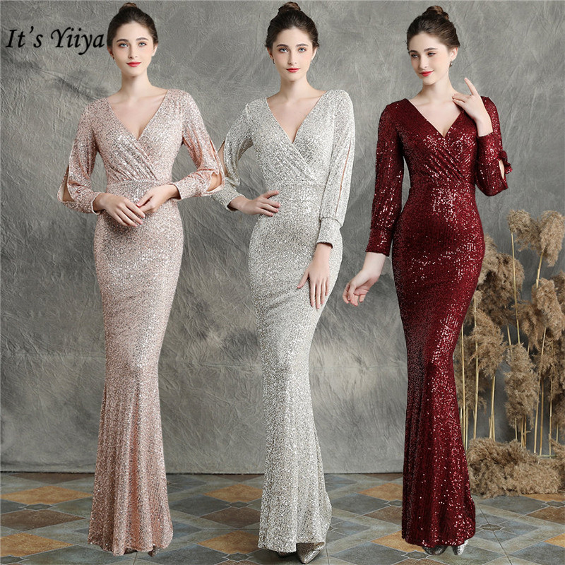 Evening Dresses Long Sleeves It's Yiiya DX240 Sequined Mermaid Elegant Evening Gown 2020 Plus Size Floor Length Robe De Soiree