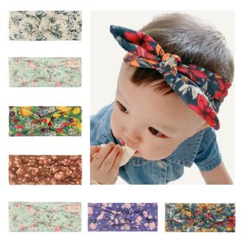 Hot Selling New Printed Fashion Baby Headscarf Floral Rabbit Eared Hair Band Childrens A