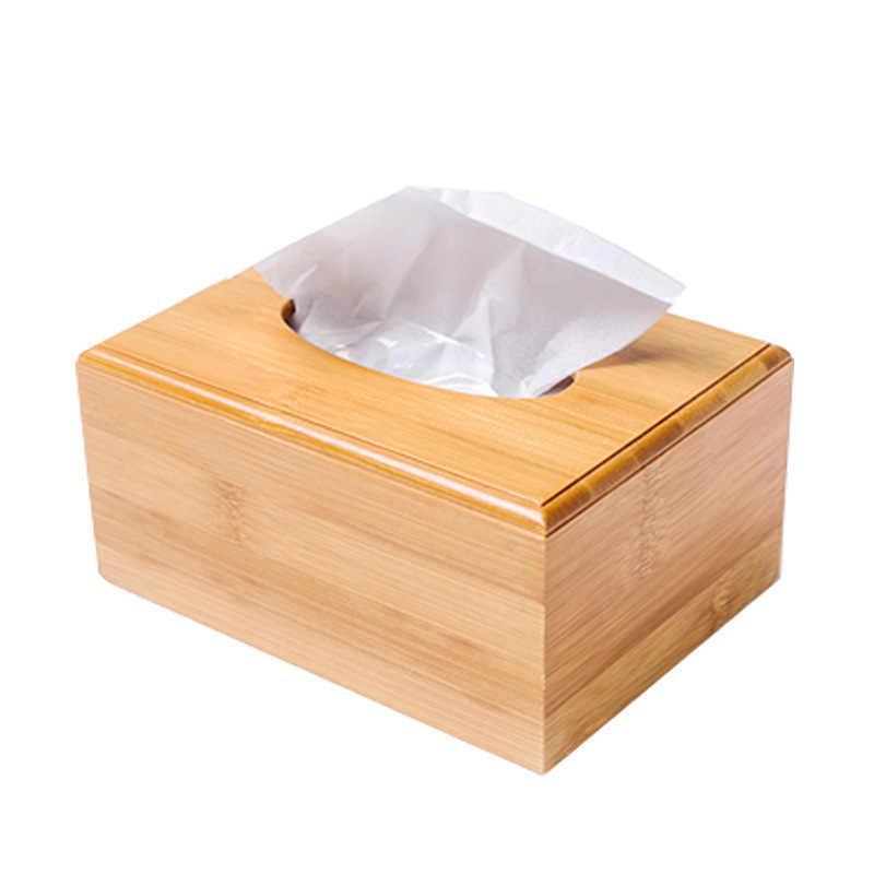 Boîte à mouchoirs en bois bambou massif | Organisateur de rangement du papier de bureau, porte-serviettes, étui décoration de la maison