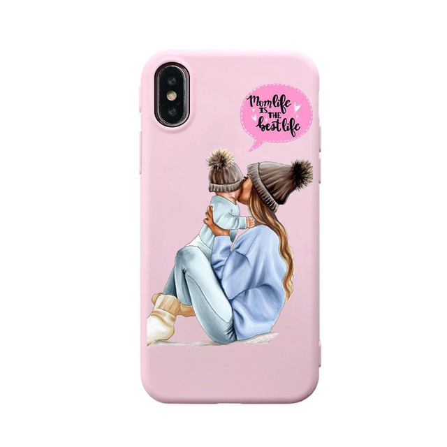 Black Brown Hair Dear Baby Mom Girl son Queen 01 soft cover For iPhone 7 12 6s 8 Plus 6 5s 11 pro max X XS Se XR mommy pink case
