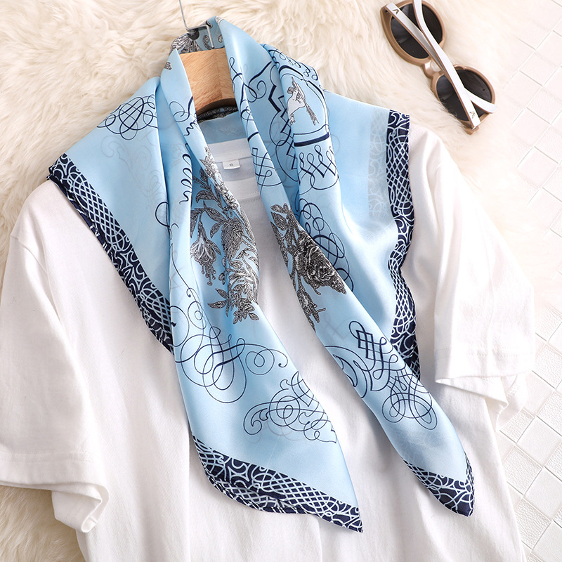 Luxury Silk Satin Hair Scarf For Women Small Shawl Fashion Floral Print Kerchief Scarves Female 70*70cm Square Scarfs For Ladies