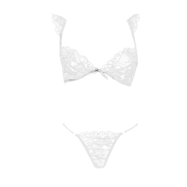 Porno Sexy Underwear Women Lace Erotic Babydoll Bralette Bra Brief Set Sexy Lingerie With Thong Sleepwear Micro Bikini Costumes 10