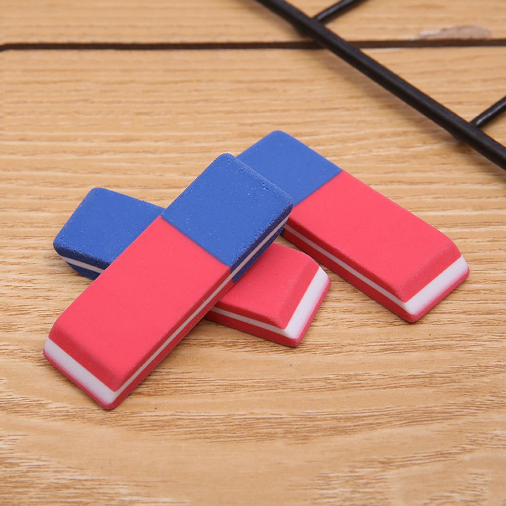 3PCS Simple Style Red And Blue Matte Learning Eraser Student Pencil Eraser Korean Creative Stationery