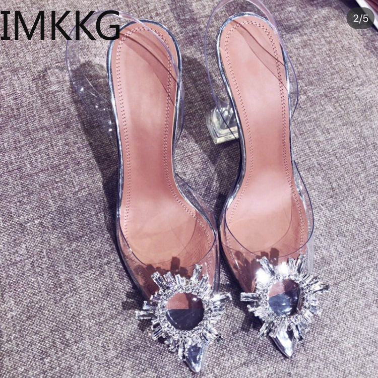 PVC Transparent Crystal Pumps 2019 Summer New Pointed Odd Heel Shoes Stiletto Ladies Sun Decoration Wild Fairy Shoes F90223
