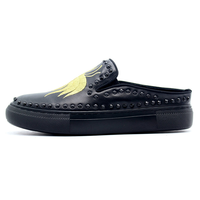 2020 New Genuine Leather Sandals Men Embroider Rivet Black Slip On Slippers Platform Loafer Flat With Beach Garden Shoes Male