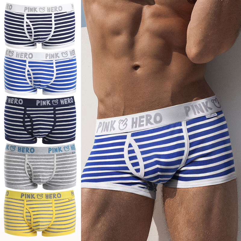 Hot 5pcs/Lot Pink Heroes High-Quality Cotton Underwear Men Boxer Shorts Classic Striped Male Underpants Comfortable U-bag
