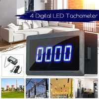 1pcs 4 Digital LED Blue Green Tachometer Gauge RPM Speed Meter+Hall Proximity Switch Sensor NPN 12V Accessories Tachomete Sets