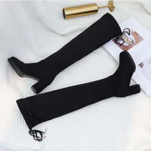 Women Winter Boots Black Shoes Women Woman's Winter Shoes New Shoes Woman 2019 Elastic Overknee Knight Boots Woman Head(China)