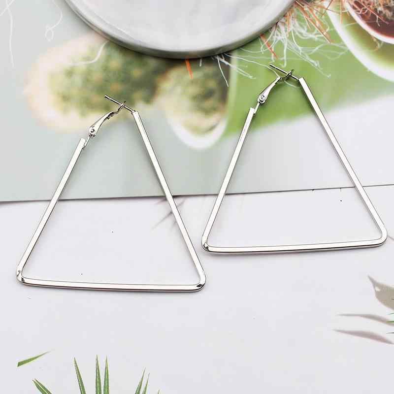 Doreenbeads brincos de argola rosa ouro sliver cor geometria forma triângulo legal feminino jóias grande hoop 1 par