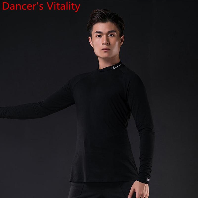 Latin Modern Dance Performance Clothes Men Adults Long Sleeve Top National Standard Rumba Samba Tango Dancing Training Outfits