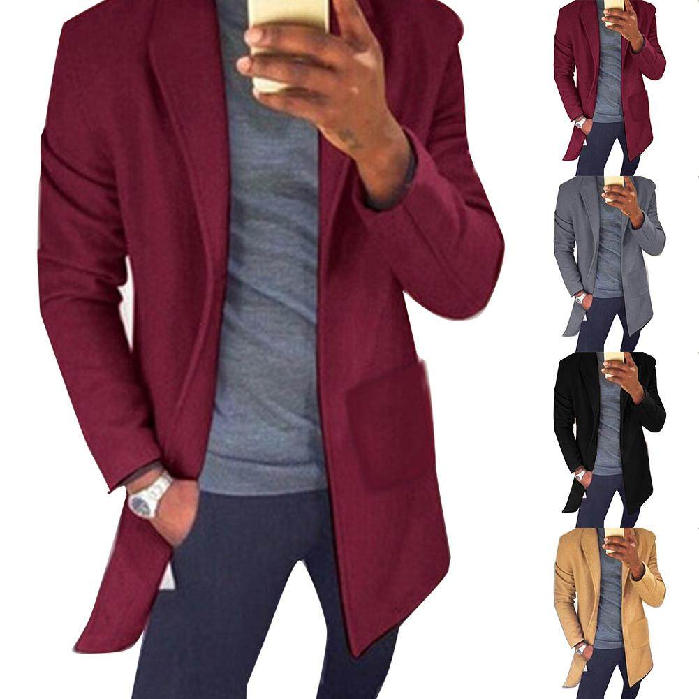 Chic Men Autumn Winter Solid Color Lapel Collar Pockets Long Blazer Trench Coat