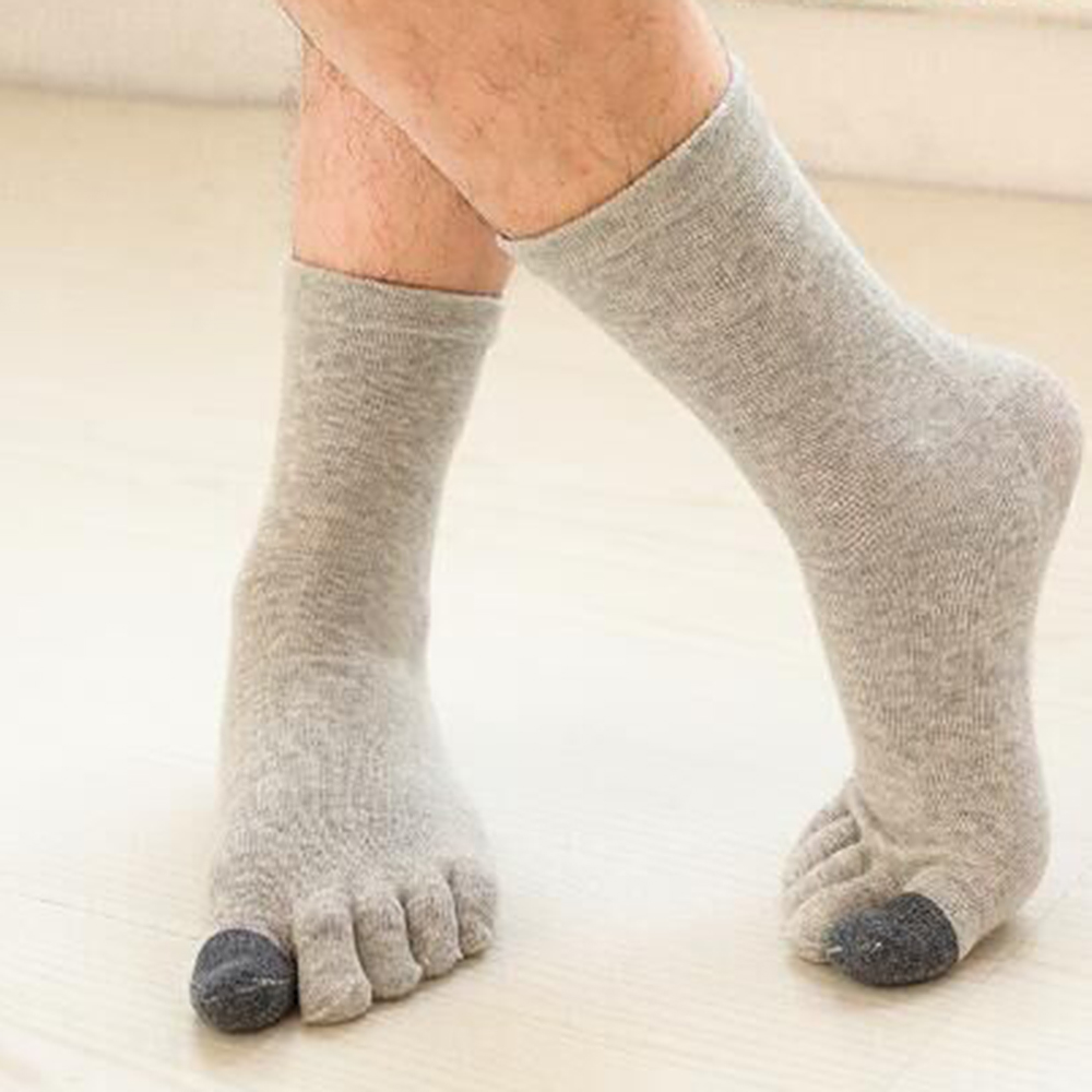Autumn Winter Men's Five-Finger Socks Anti-slip Cotton Breathable Sports Toe Socks Middle Tube Socks Stand Wear Tear Socks