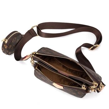 Vintage Printing Handbag 3-IN-1 Fashion Brand Messenger Bags for Women Pu Leather Crossbody Bag Lady Small Purse Handbag Totes 4