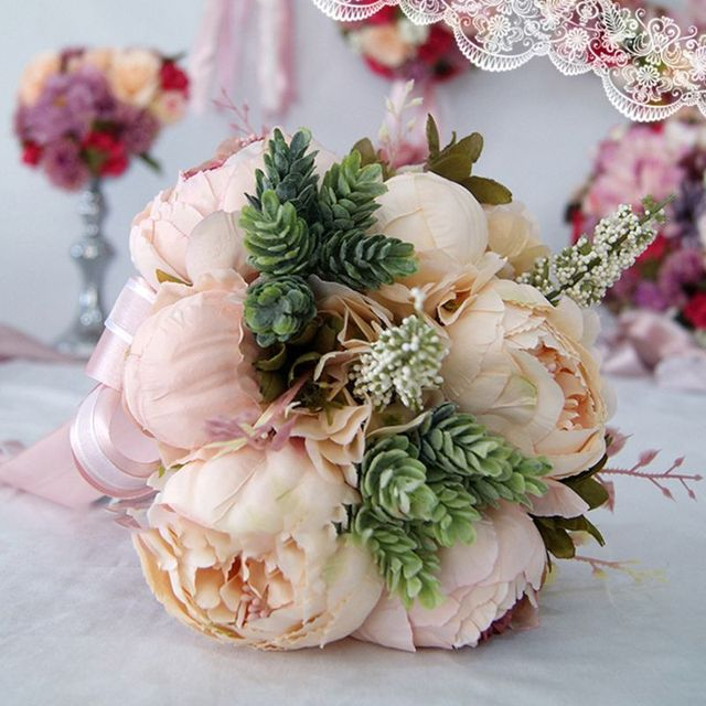 Europäischen Vintage Braut Hochzeit Bouquet Künstliche Staubigen Pfingstrose Blumen Gefälschte Sukkulente Spitze Band Brautjungfer Party Decor