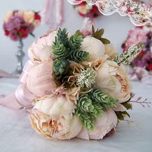 Ramo de novia Vintage europeo Artificial peonía polvoriento flores suculenta Artificial planta encaje cinta dama de honor fiesta Decoración