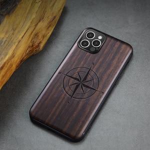 Image 5 - Funda de madera de ébano para iPhone 12 Pro, carcasa de parachoques de TPU tallado para iPhone 12 Pro Max