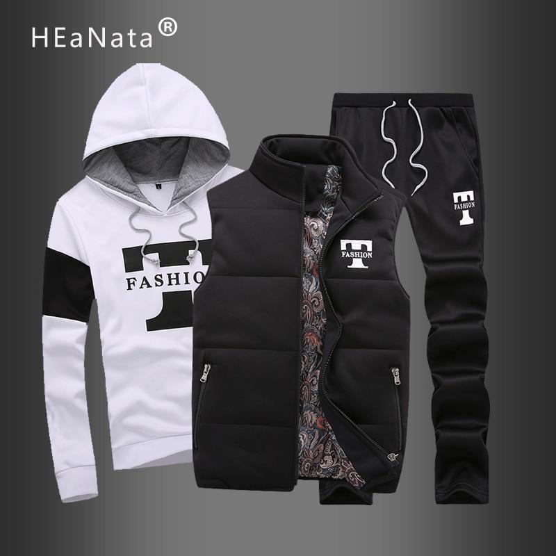 Sportswear Mens Set Brand Casual Tracksuit Men Hoodies Tracksuit Sets Letter Print Men Clothes 3 PCS Sweatshirt Pants Track Suit