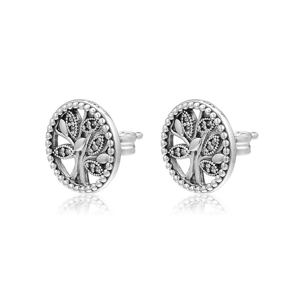 Trees of Life Stud Earrings 925 Sterling Silver Jewelry For Woman Make up Fashion Female Earrings Party Jewelry
