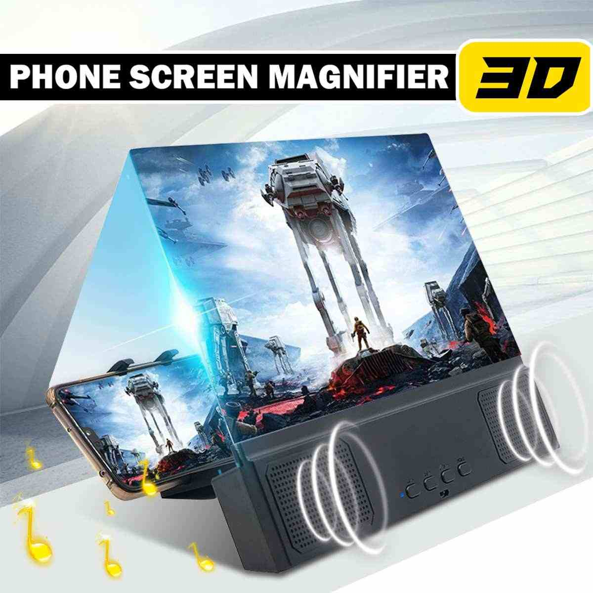 12inch 3D HD Telefoon Screen Magnifier Desktop Beugel Movie Video Versterker Met Bedrade Speaker Voor Smart Telefoon Expander Houder