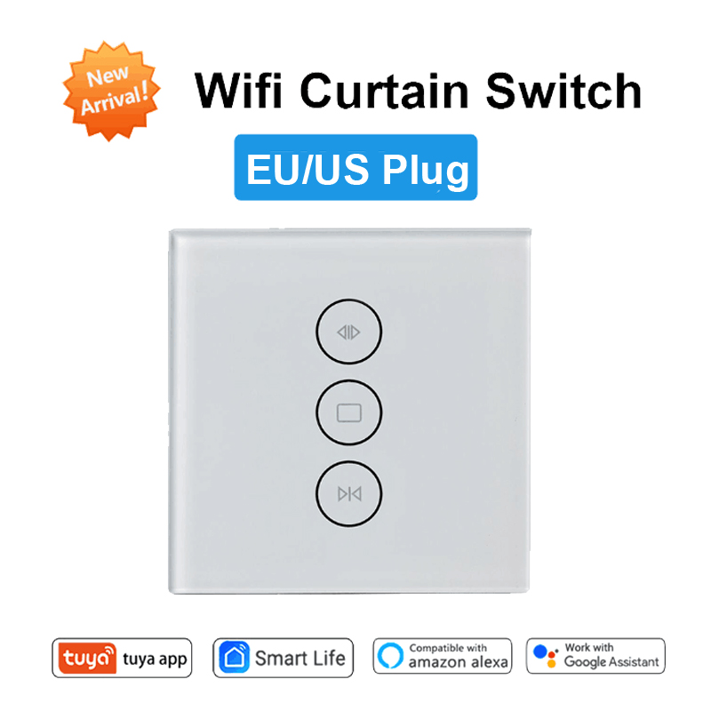 Tuya Smart Curtain Switch WiFi Voice Control Wall Touch Switch Electric Motorized Curtain Google Home Amazon Alexa Echo