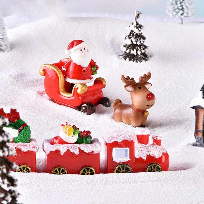 Miniature Christmas Tree Santa Claus Snowmen Snow เป็ด Terrarium อุปกรณ์เสริม Micro Fairy Garden ตุ๊กตา Doll House Decor