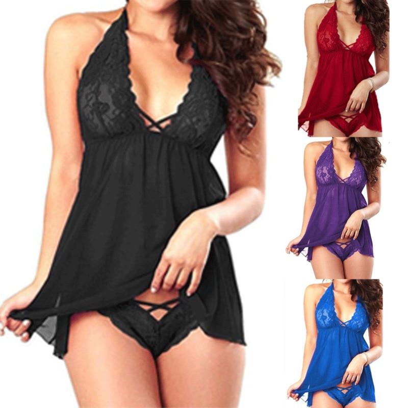 Размера плюс 2XL сексуальное кружевное платье с лямкой на шее женское нижнее белье Для женщин кружева v-образным вырезом нижнее белье пикантн...