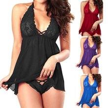 Plus size 2xl sexy renda halter lingerie lingerie feminina renda com decote em v lingerie sexy quente erótico babydoll sleep vestido